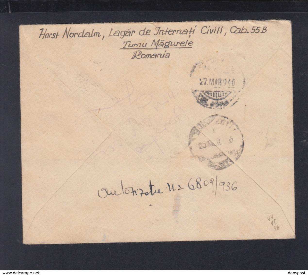 Romania Registered Cover 1946 Turnu-Magurele To Germany - 2. Weltkrieg (Briefe)