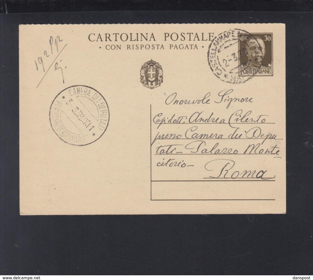 Cartolina 1932 Castelammare Per La Camera Dei Deputati - 1900-44 Victor Emmanuel III.