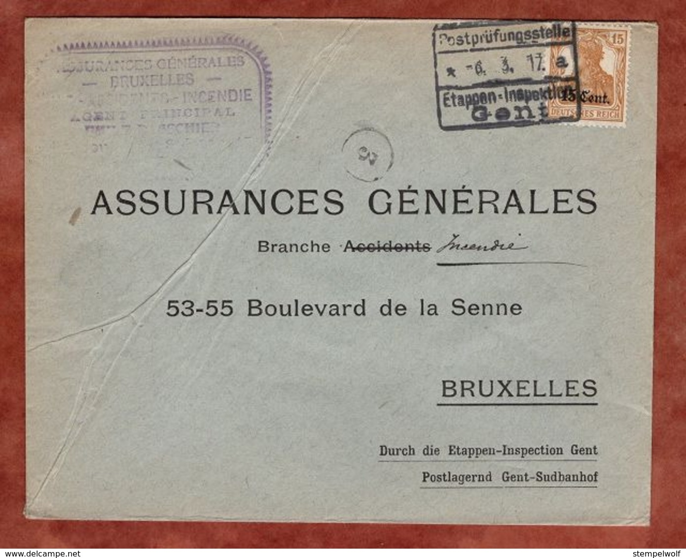 Landespost In Belgien, Brief, Germania, Bruxelles Bruessel, Postpruefungsstelle Gent 1917 (81401) - Besetzungen 1914-18