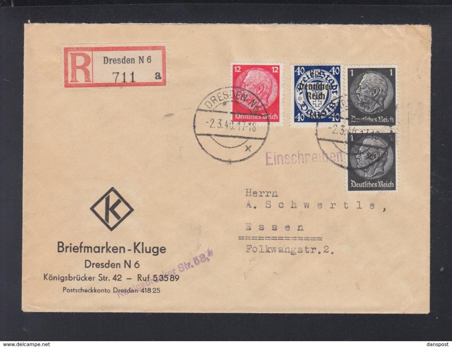 Dt. Reich R-Brief Dresden 1940 Nach Essen - Germania