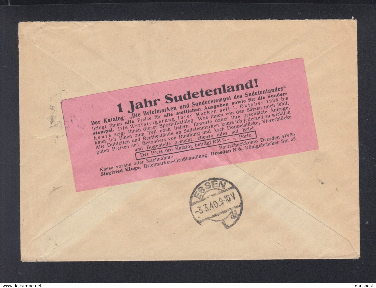 Dt. Reich R-Brief Dresden 1940 Nach Essen - Briefe U. Dokumente