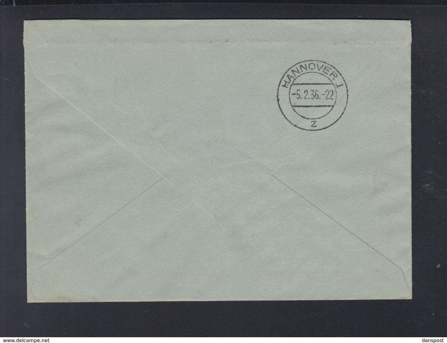 Dt. Reich ZD Auf R-Brief 1936 Stettin Nach Hannover - Briefe U. Dokumente