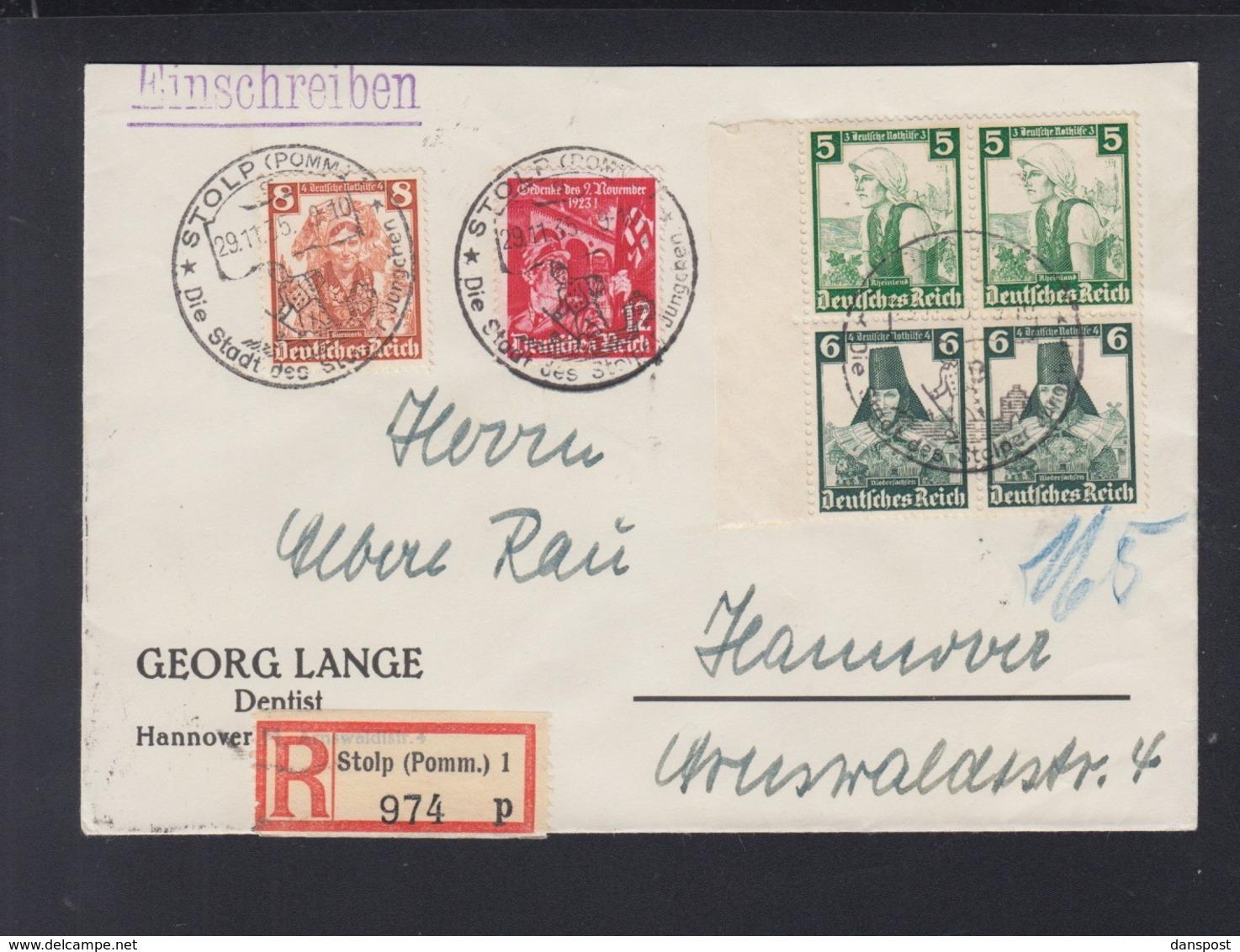 Dt. Reich ZD Auf R-Brief 1935 Stolp Nach Hannover - Briefe U. Dokumente