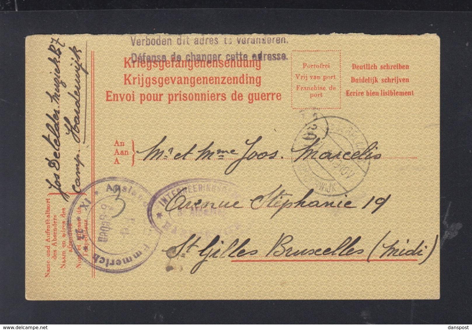 Niederlande Internierungslager Harderwijk PK 1918 Nach Frankreich - 1891-1948 (Wilhelmine)