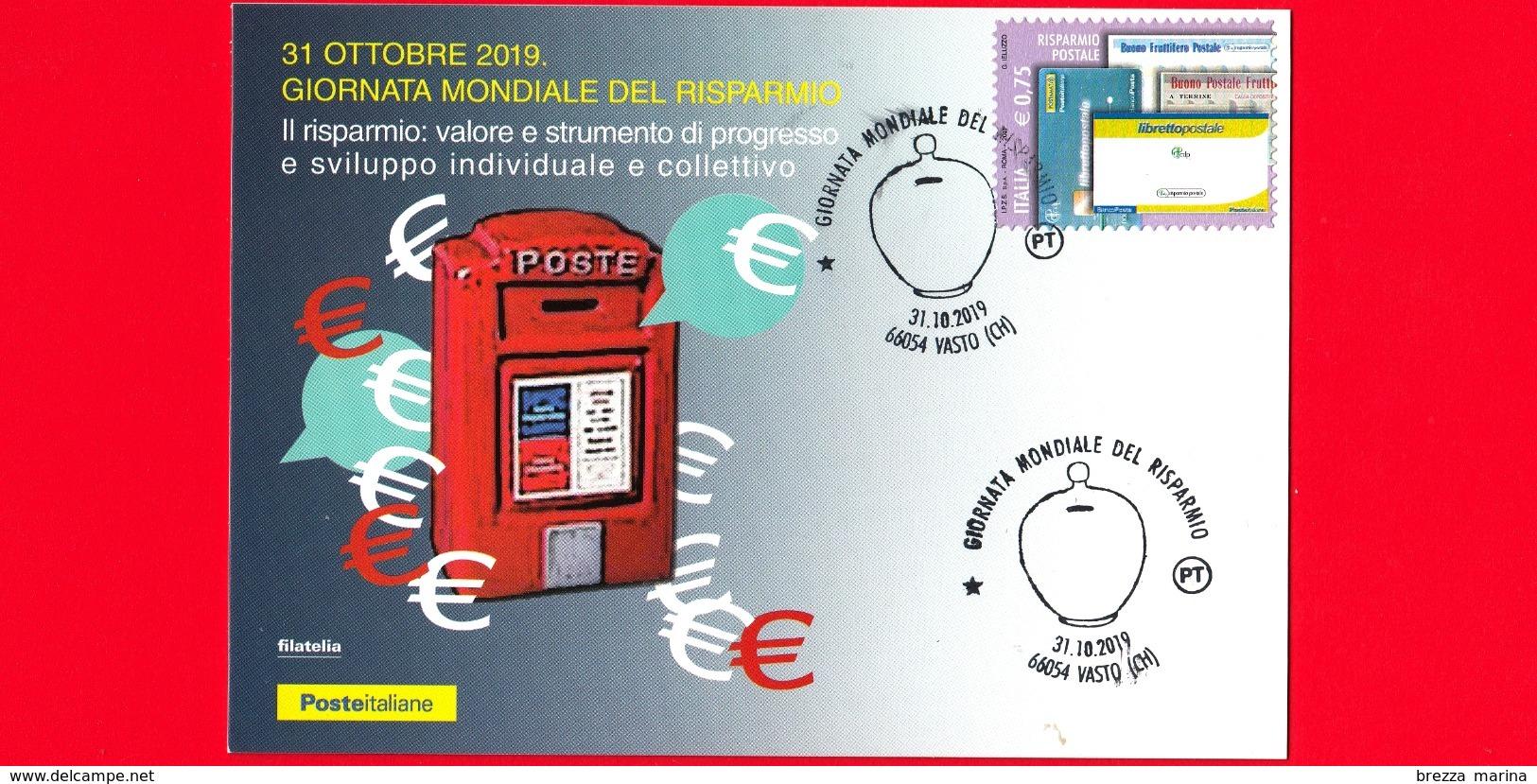 ITALIA - 2019 - Cartolina - Giornata Mondiale Del Risparmio - Annullo 31 Ottobre 2019  - Vasto (CH) - Italia