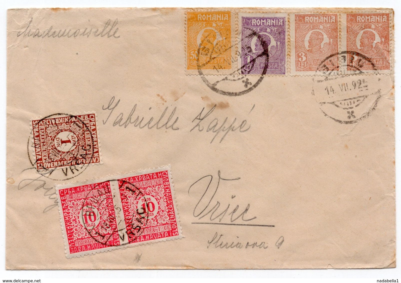 1925 ROMANIA TO YUGOSLAVIA, VRSAC, POSTAGE DUE, POSTER STAMP AT THE BACK - Covers & Documents