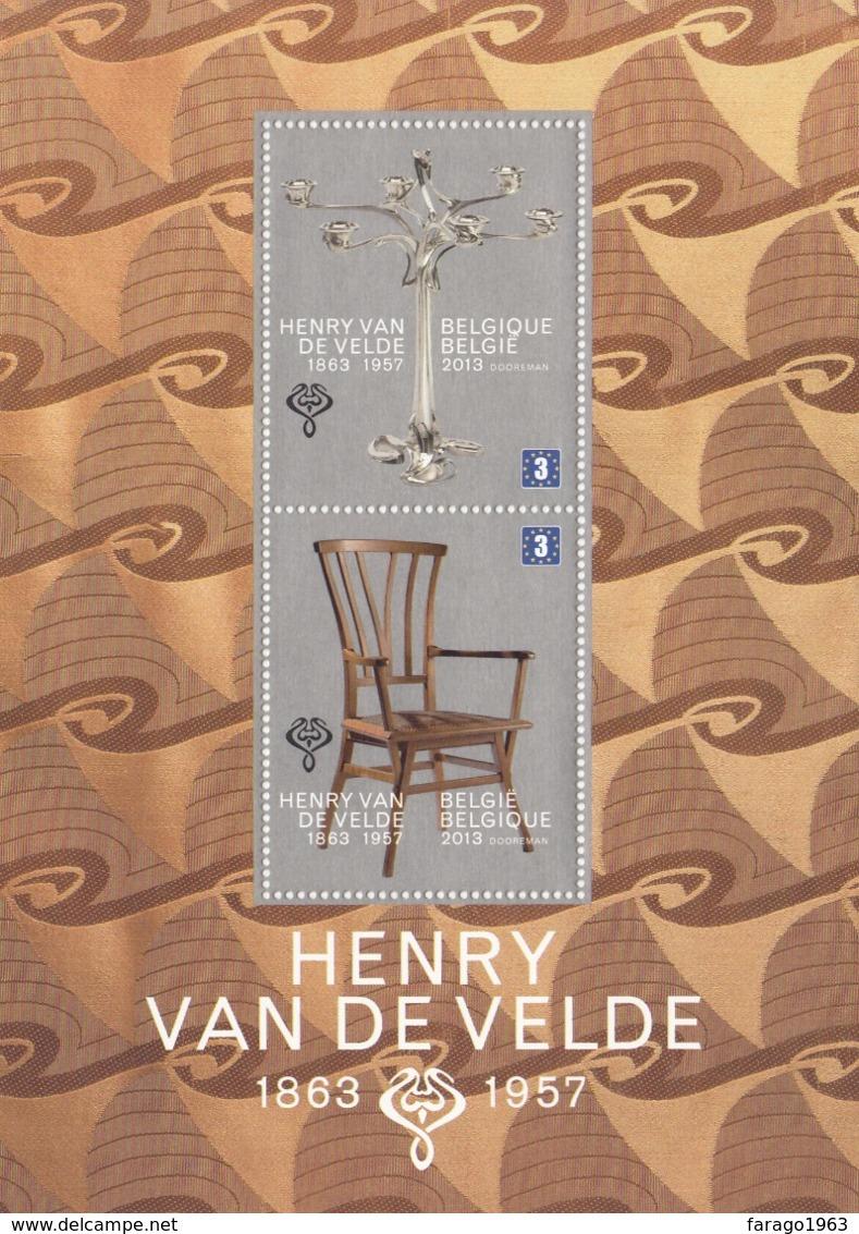 2013 Belgium Van De Velde Design   Miniature Sheet Of 2 MNH @ 80% Face Value - Belgien