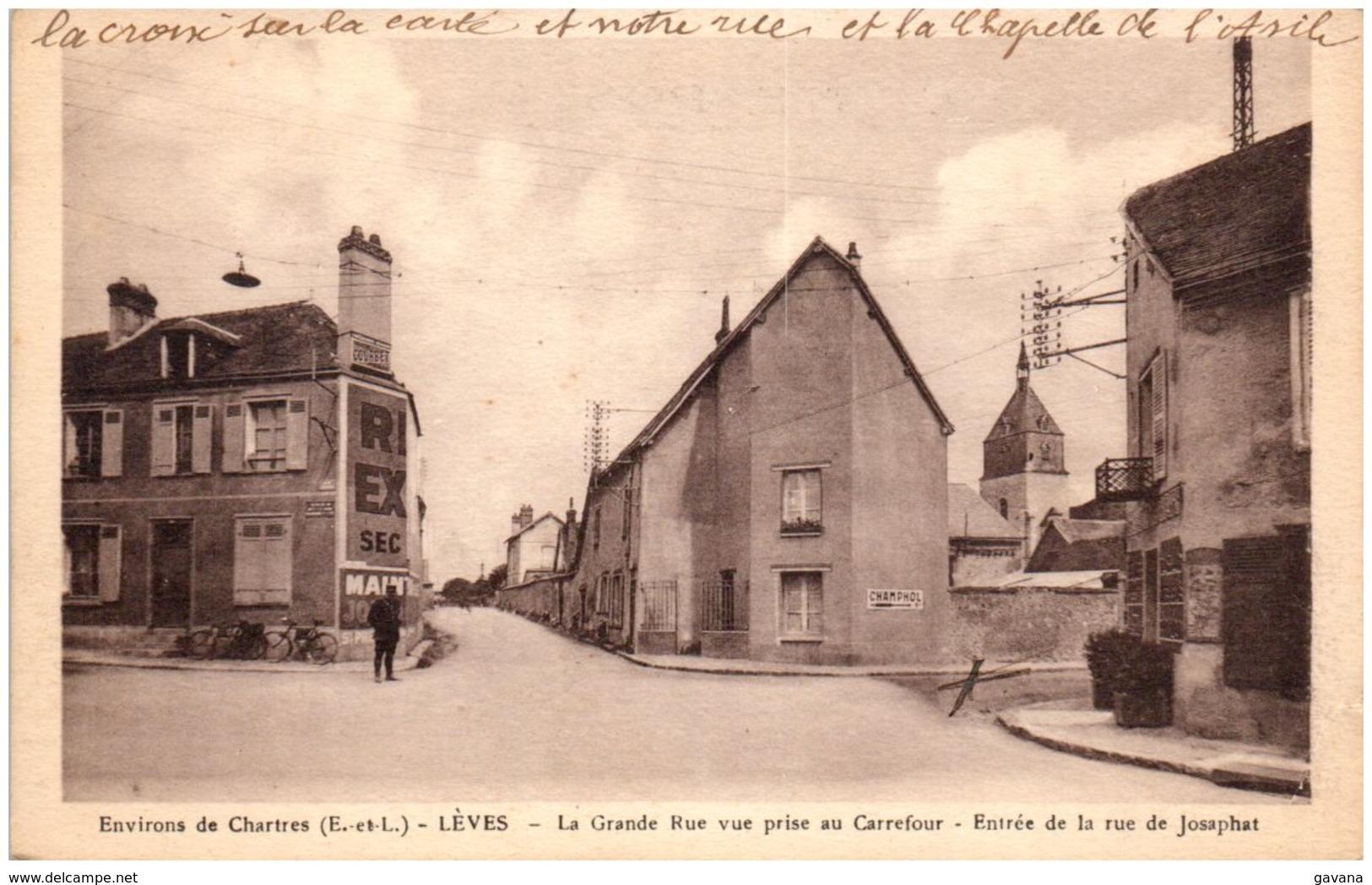 28 Environs De Chartres - LEVES - La Grande Rue Vue Prise Au Carrefour - Entrée De La Rue De Josaphat - Lèves