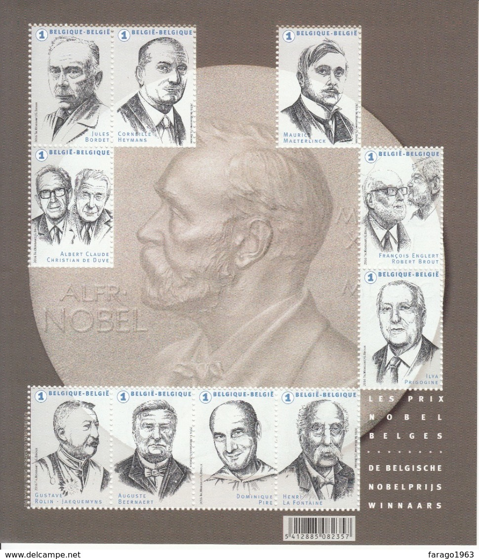 2016 Belgium  Nobel  Prize Winners   Miniature Sheet Of 10 MNH @ 80% Face Value - Nobelpreisträger