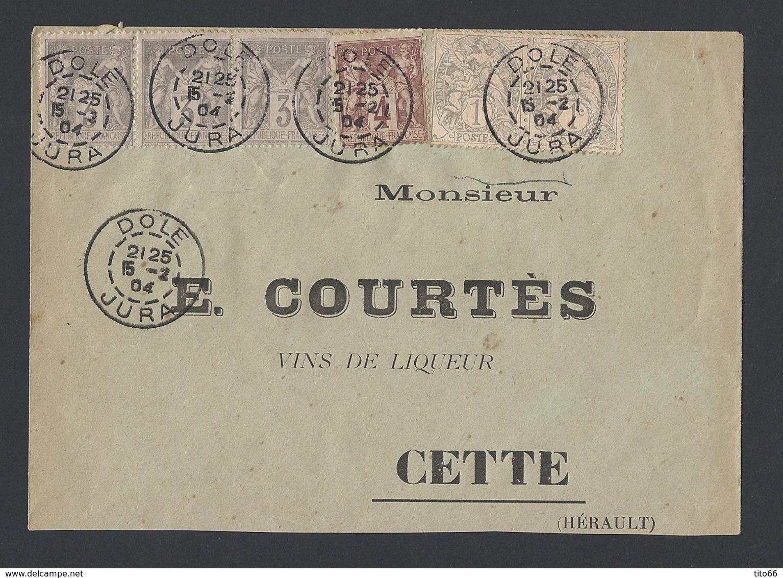 Sage Y/T 87 Bande De 3 Et Y/T 88 + Blanc 107 En Paire De Dole Vers Cette 15/2/1904 - Postmark Collection (Covers)