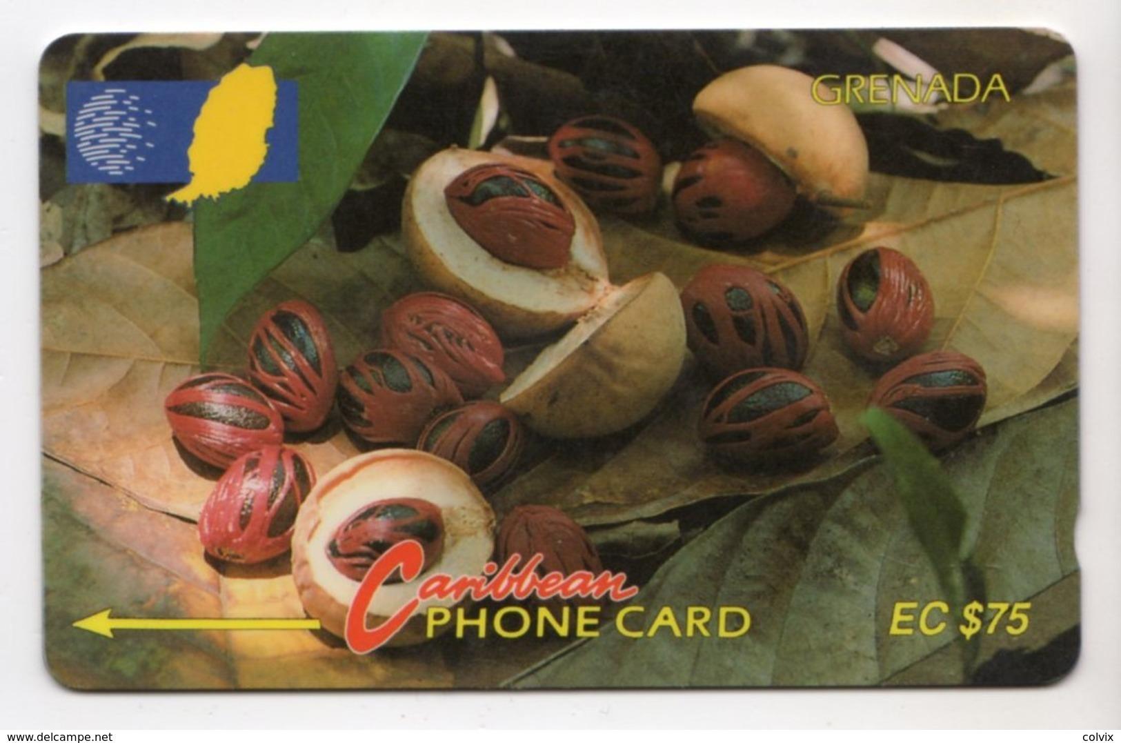 GRENADE CARAIBES CABLE & WIRELESS MV Cards GRE-6D 1993 75$  CN 6CGRD NUTMEG - Grenada