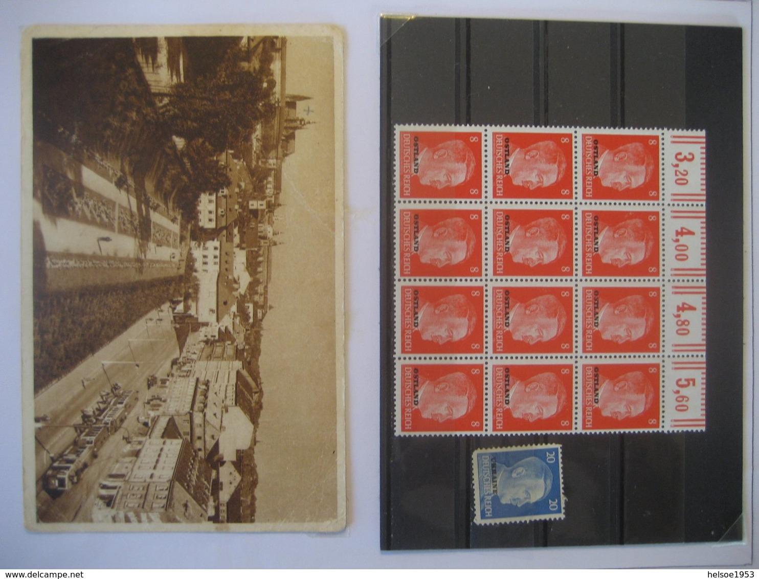 Deutschland/ Deutsches Reich- 12 Er Block Hitler 8 Pf. Mit Oberen Rand Und Zählnummer Aufdruck Ostland, Karte Prag 1945 - Used Stamps