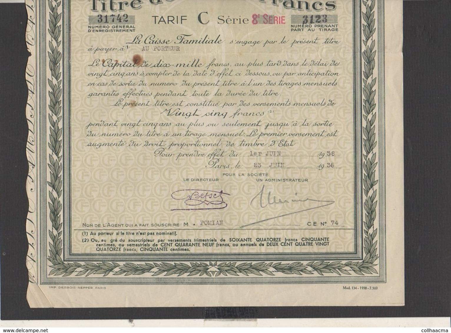 """Action : Société  De Capitalisation """" Caisse Familiale"""" Siège Social à Paris  Titre De 10.000 Francs 1938 + Courrier - Banco & Caja De Ahorros"""