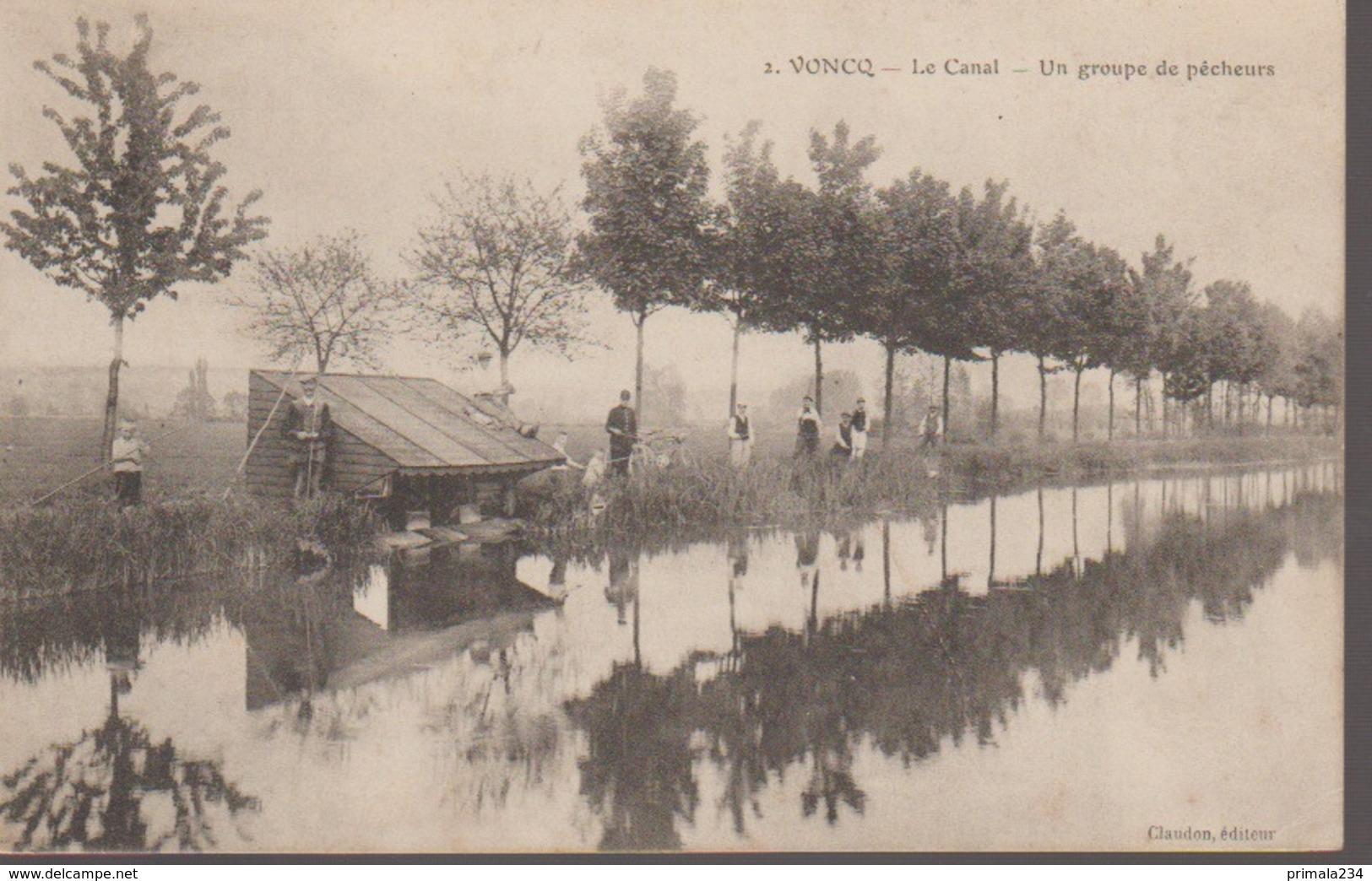VONCQ - LE CANAL - UN GROUPE DE PECHEURS - France