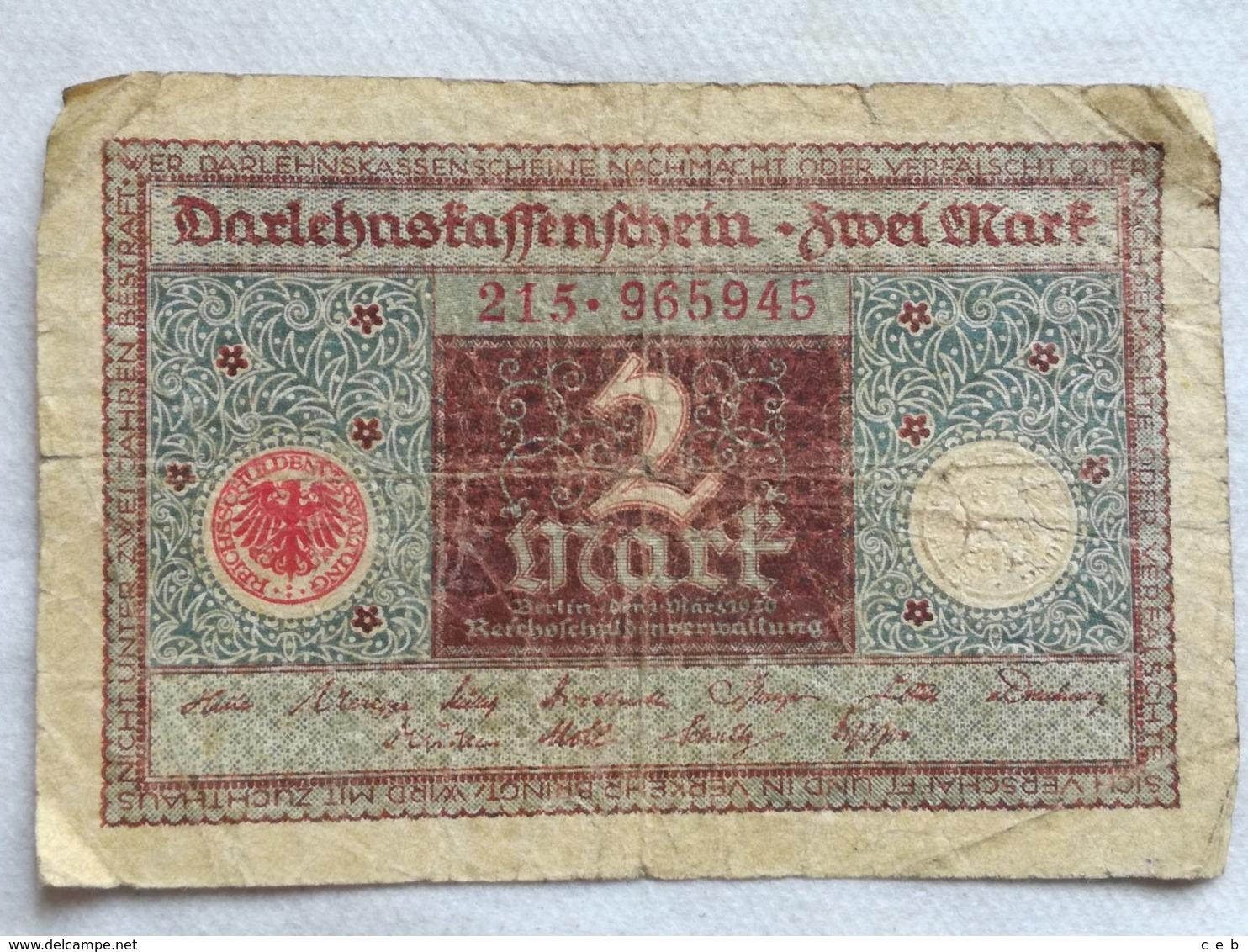 Billete Alemania. 2 Marcos. 1920. - [ 3] 1918-1933 : República De Weimar