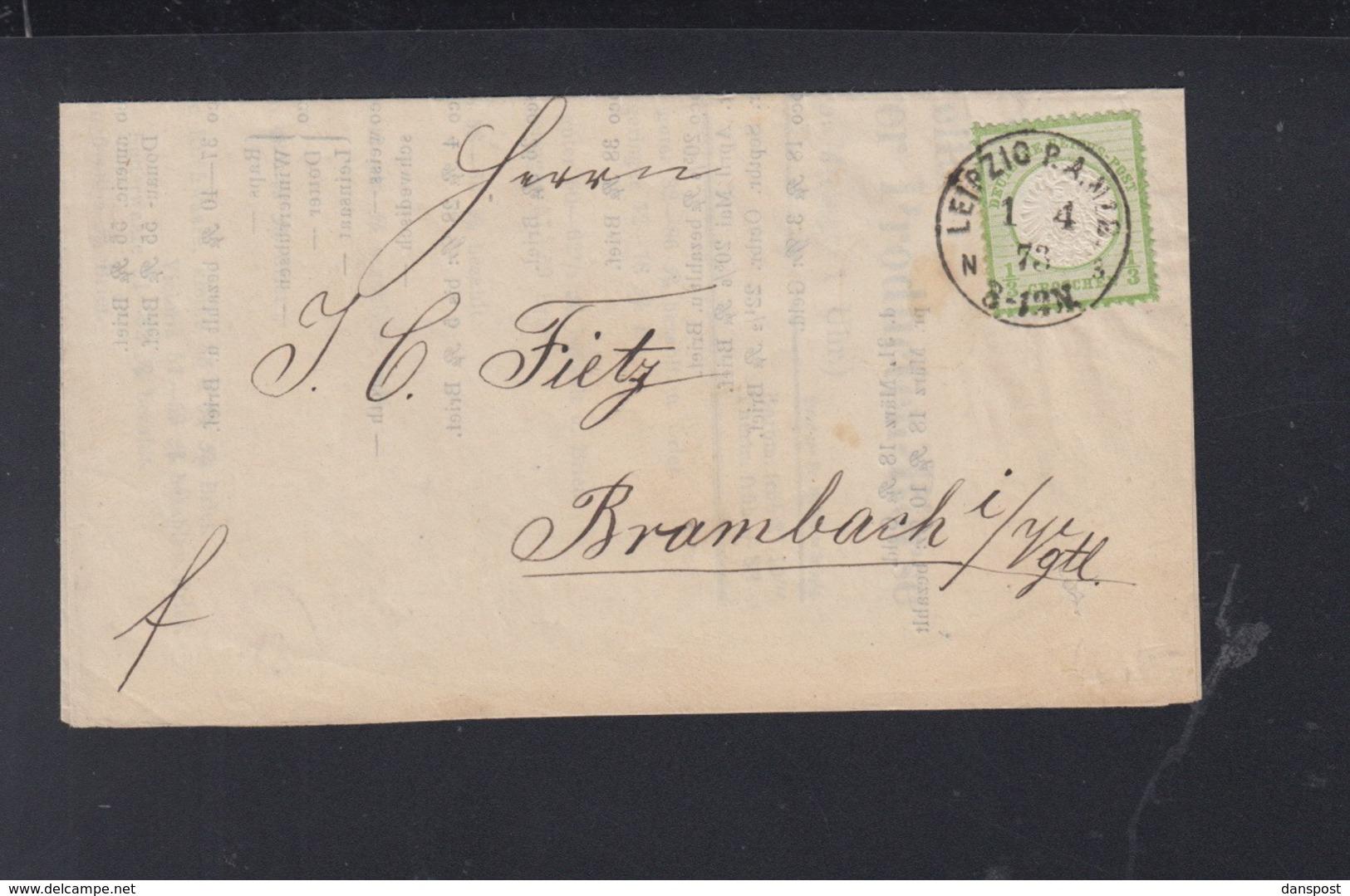 Dt. Reich Faltbrief 1873 Leipzig Nach Brambach - Deutschland