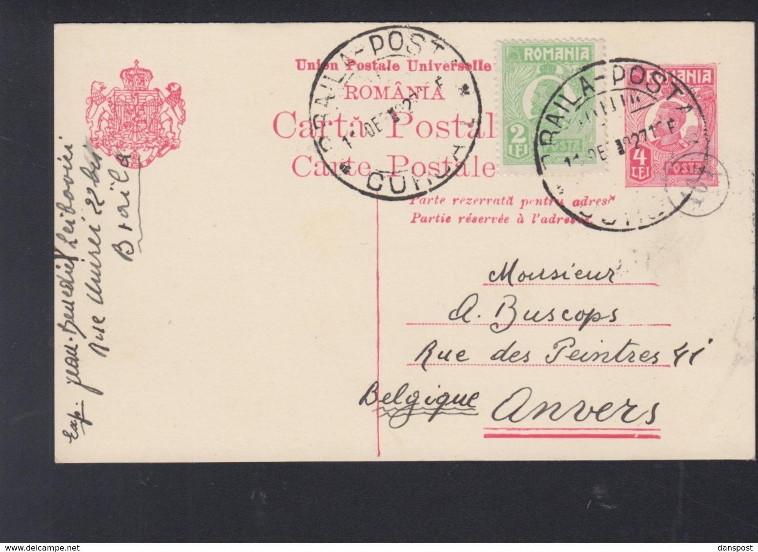 Romania PC Uprated 1927 Braila Posta To Belgium - 1918-1948 Ferdinand, Charles II & Michael