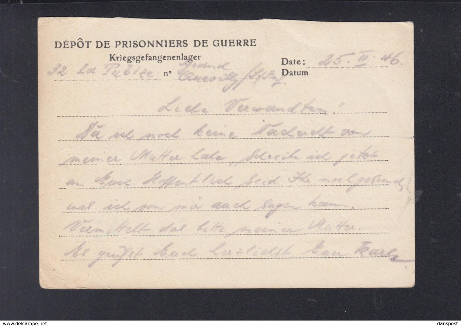 France CP Prisonniers De Guerre 1946 32 La Tubize - Poststempel (Briefe)