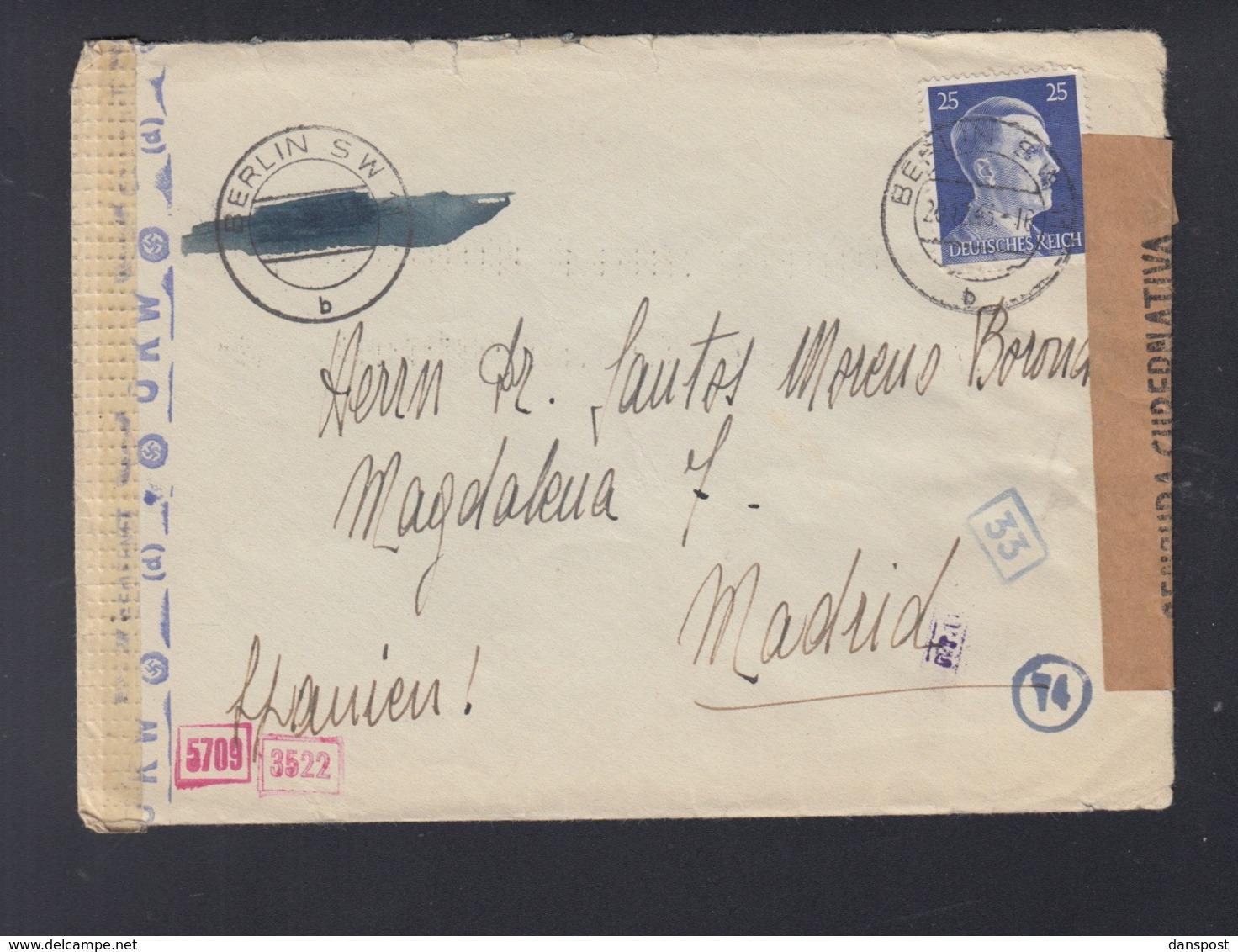 Dt. Reich Brief 1944 Berlin Nach Madrid - Briefe U. Dokumente
