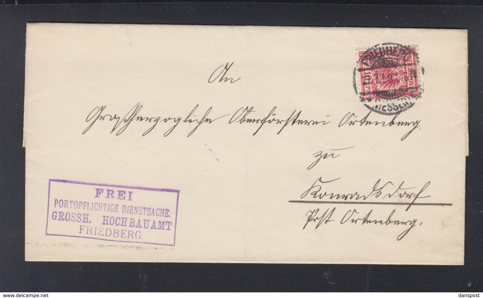 Dt. Reich  Falthülle 1899 Hochbauamt Friedberg - Briefe U. Dokumente