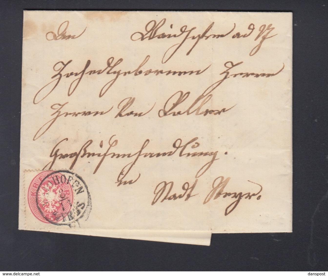 Österreich Faltbrief 1863 Weidenhofen - Briefe U. Dokumente