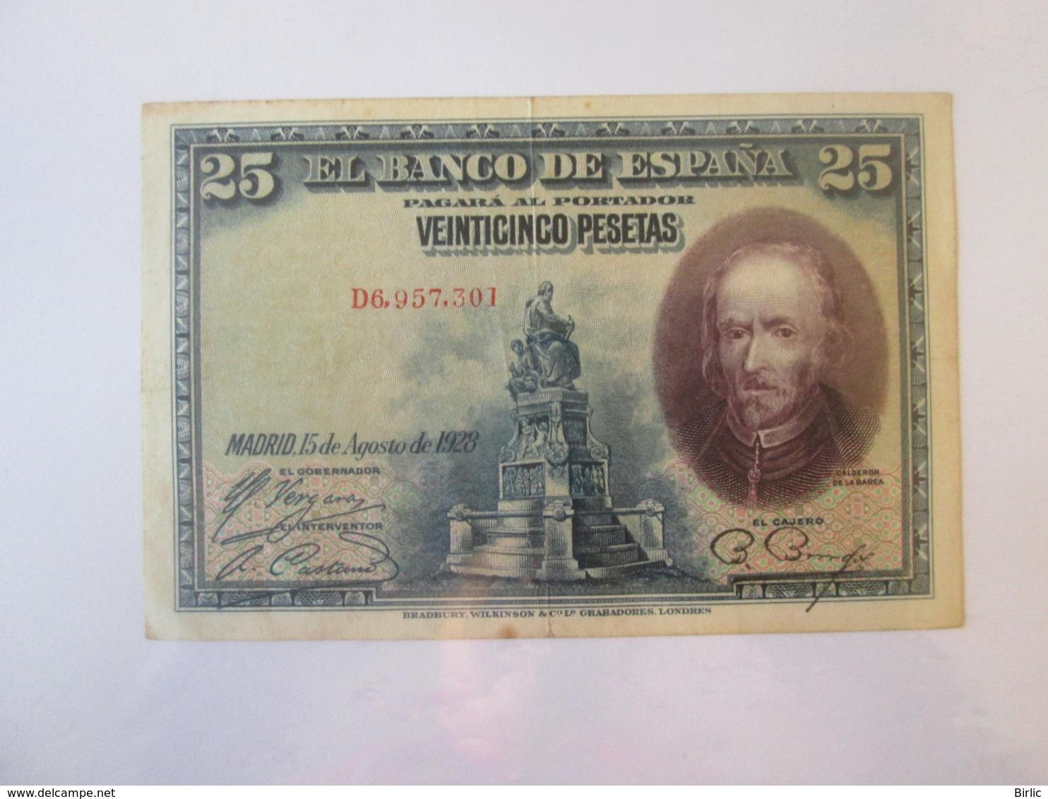 Spain 25 Pesetas 1928 Banknote - [ 1] …-1931 : Eerste Biljeten (Banco De España)