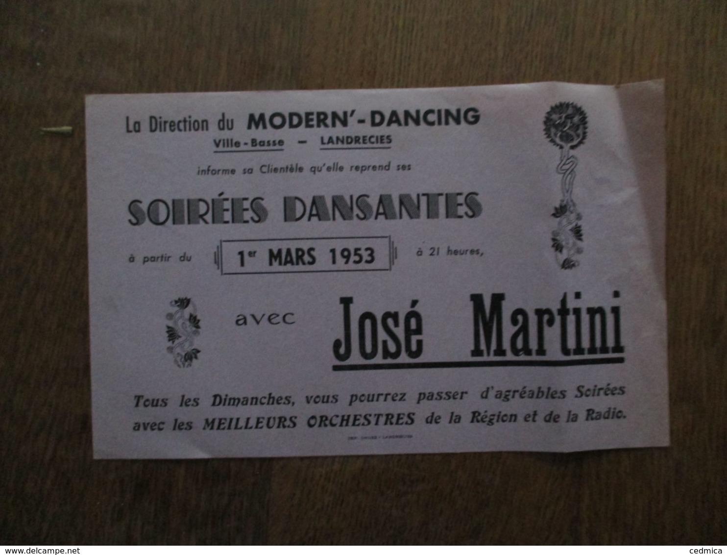 LANDRECIES LA DIRECTION DU MODERN'DANCING VILLE-BASSE INFORME SA CLIENTELE DE SES SOIREES DANSANTES A/C 1er MARS 1953 AV - Programme