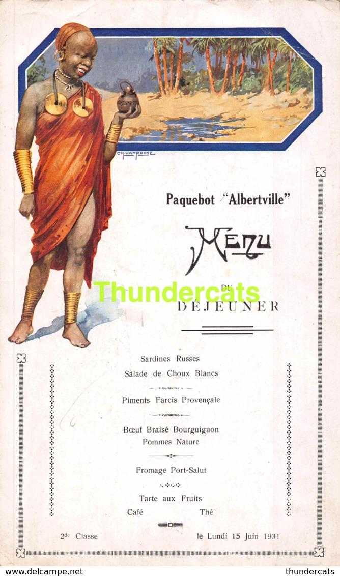 ANCIENNE MENU PAQUEBOT ALBERTVILLE ILLUSTRATEUR VAN ROOSE 1931 CONGO ( PLIS - CREASES - PLOOITJES ) - Menus