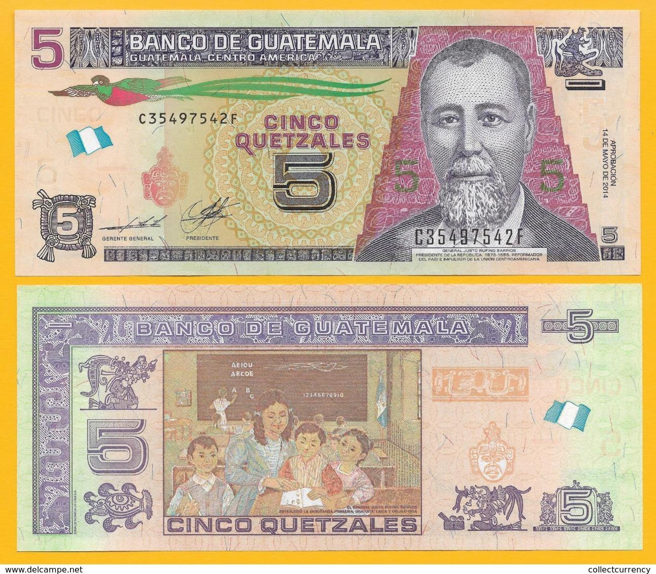 Guatemala 5 Quetzales P-new 2014 UNC Banknote - Guatemala