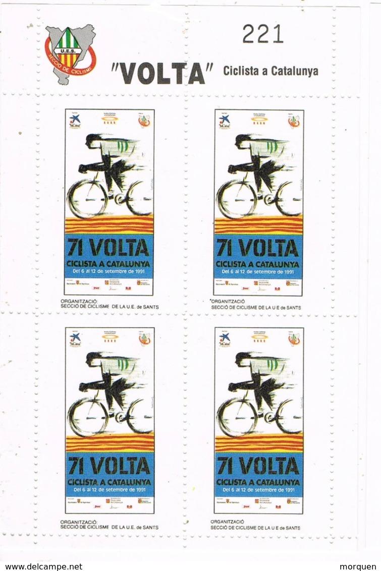 34395. Hojita 4 Viñetas 71 VOLTA Ciclista Catalunya 1991. Dentada ** - Variedades & Curiosidades