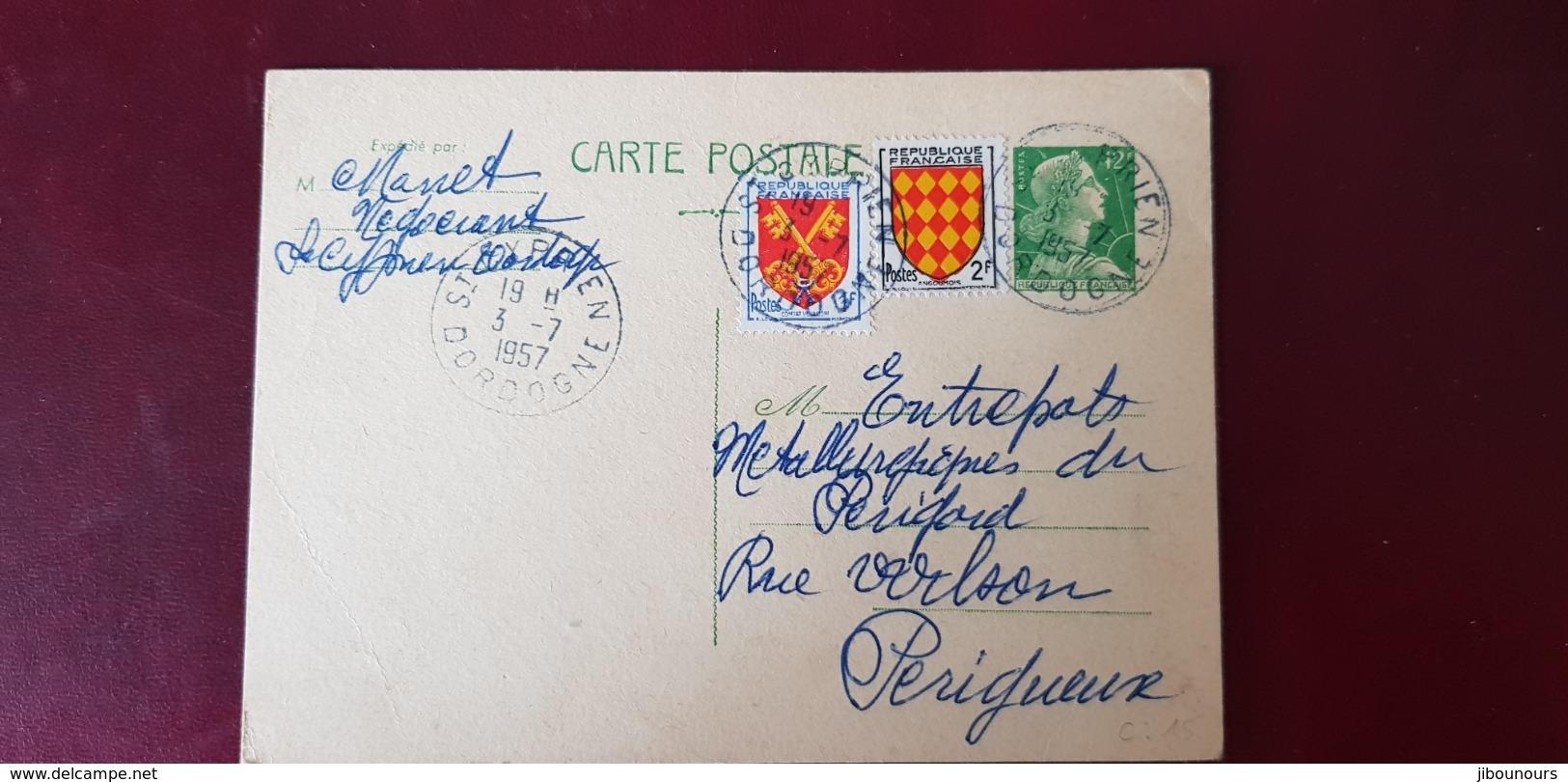 Entier Postal 12 Francs Muller  Plus Complémnnt Oblitéré St Cyprien Dordogne 3/7/1957 - Cartes Postales Types Et TSC (avant 1995)