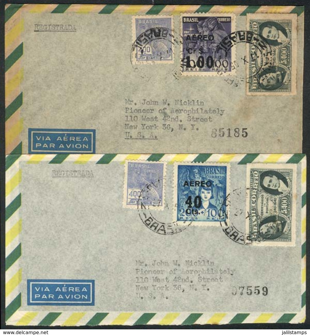 BRAZIL: 2 Airmail Covers Sent From Rio To USA In OC/1955, With UNISSUED PROOFS Of Surcharged Airmail Stamps (of The RHM. - Brazil