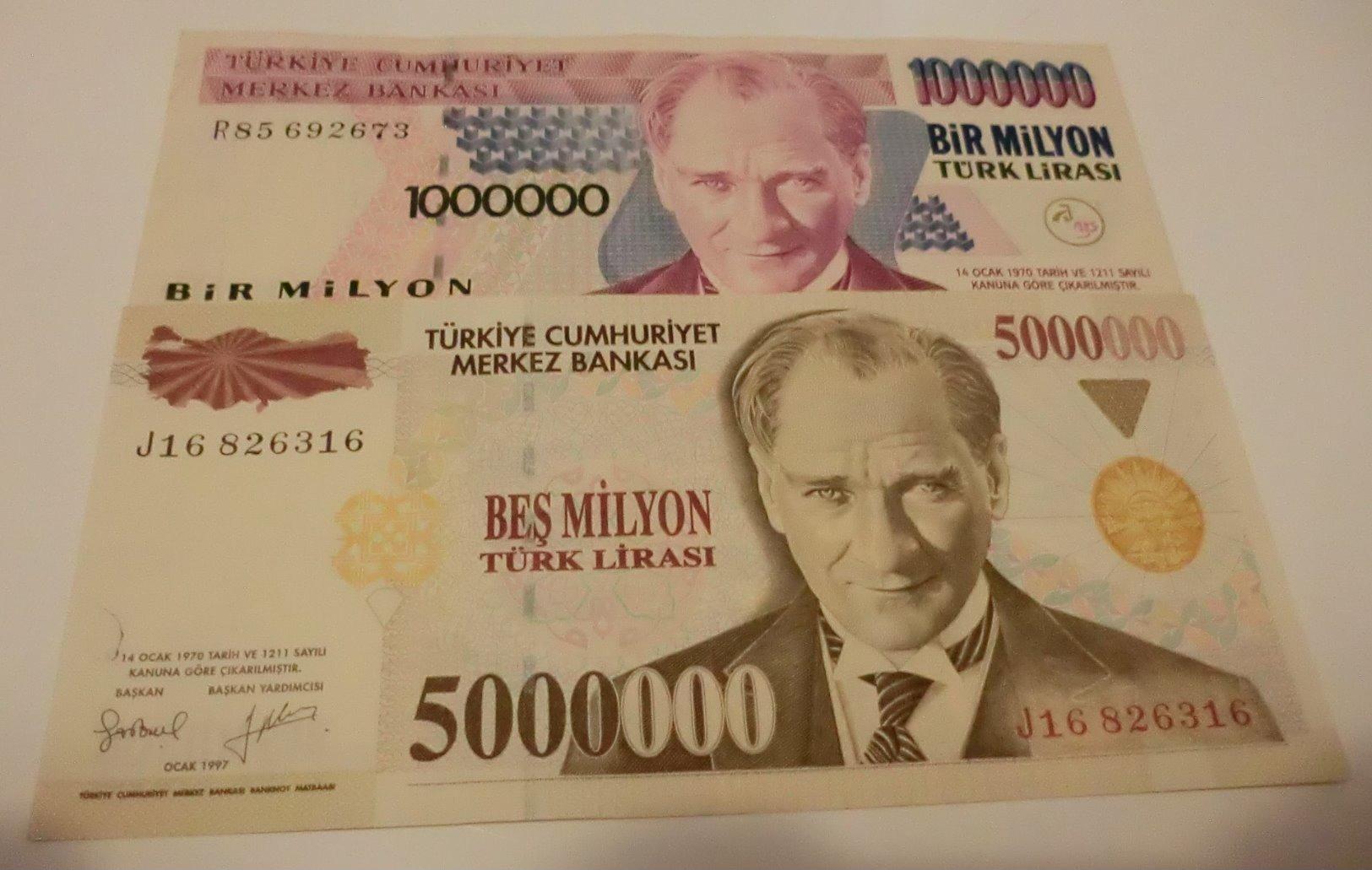 TURKEY 5000000 5,000,000 LIRA 1997 5 MILLION ATATURK   BANKNOTE - Turchia