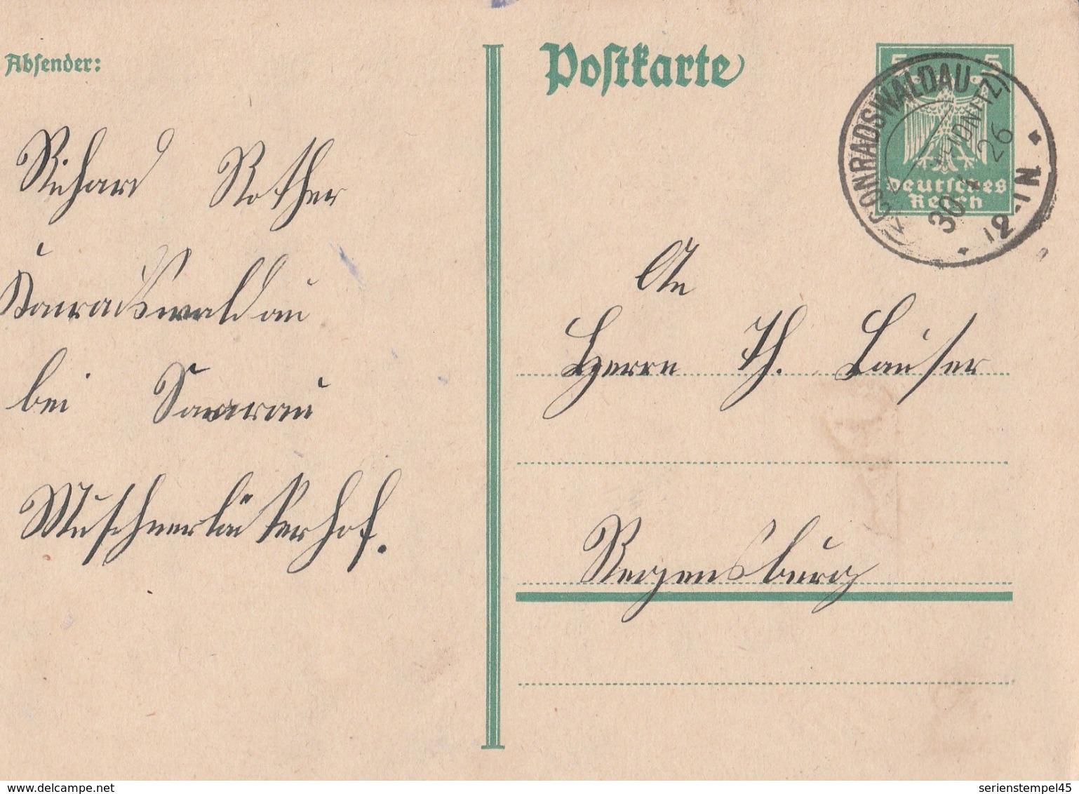 Deutsches Reich Karte Mit Tagesstempel Conradswaldau Kr Schweidnitz Schlesien 1926 KOS - Deutschland