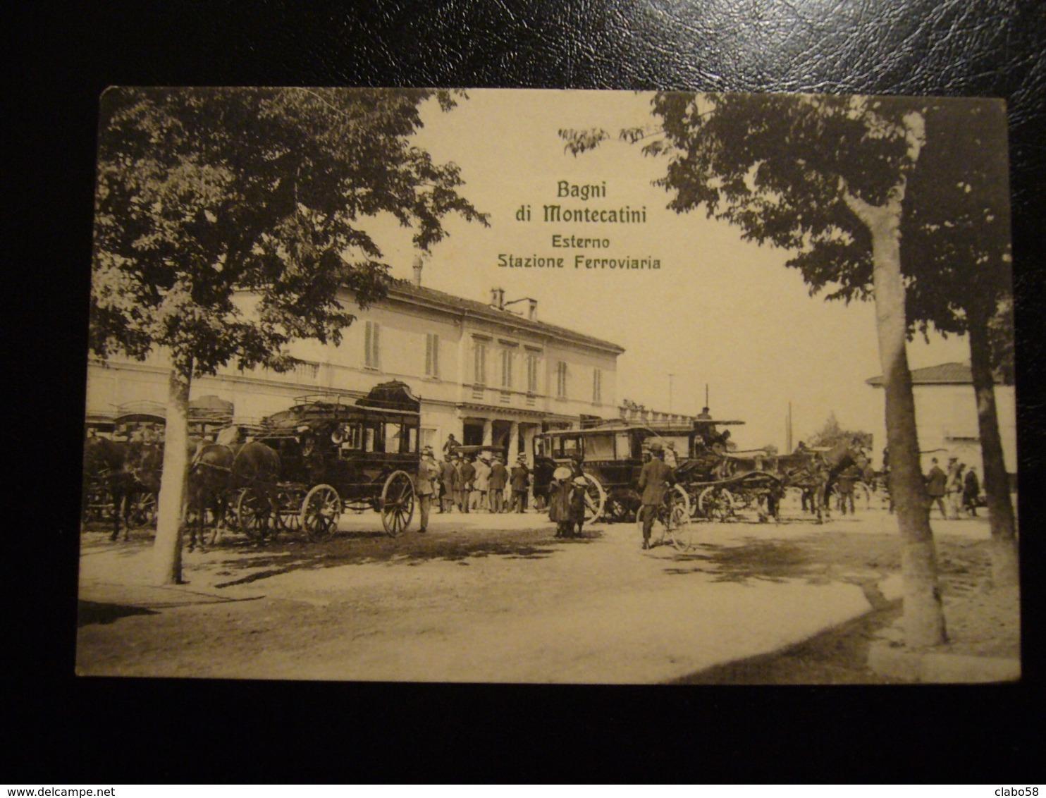 1911  BAGNI DI MONTECATINI  ESTERNO STAZIONE FERROVIARIA  DILIGENZE ANIMATA - Altre Città