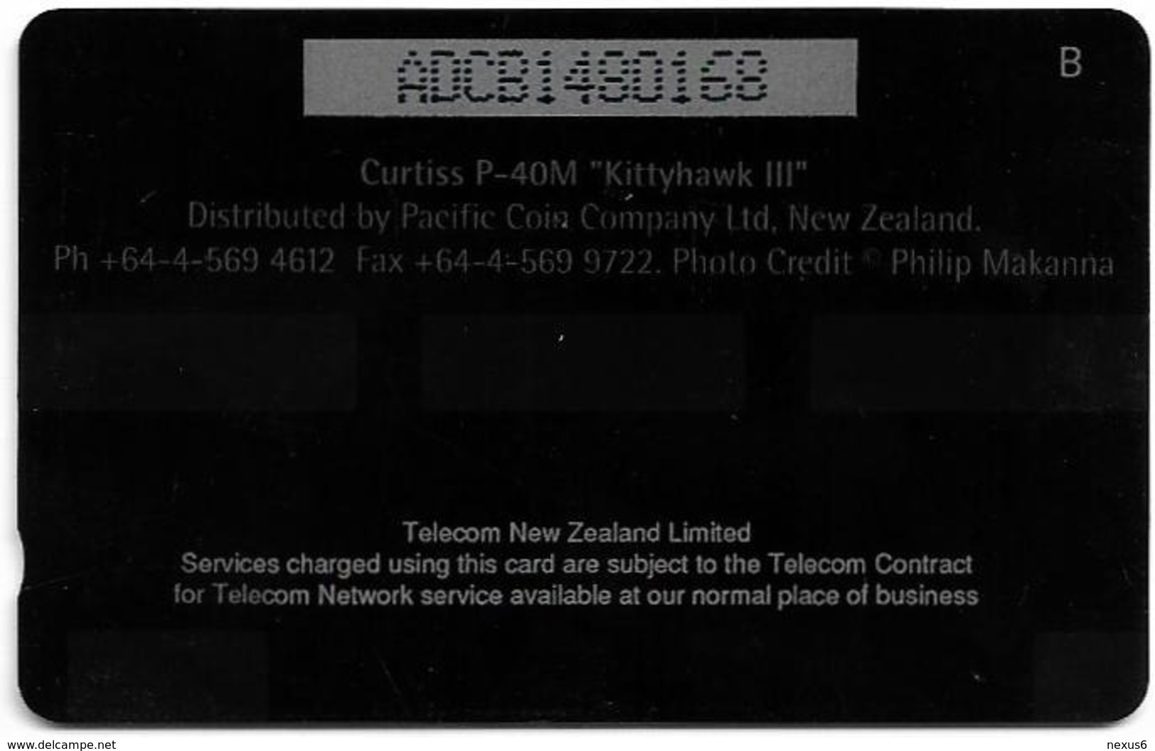 New Zealand - Dealer Cards - Fighter Planes '95 - Curtiss P-40M Kittyhawk, 1995, 5$, 7.250ex, Used - Neuseeland