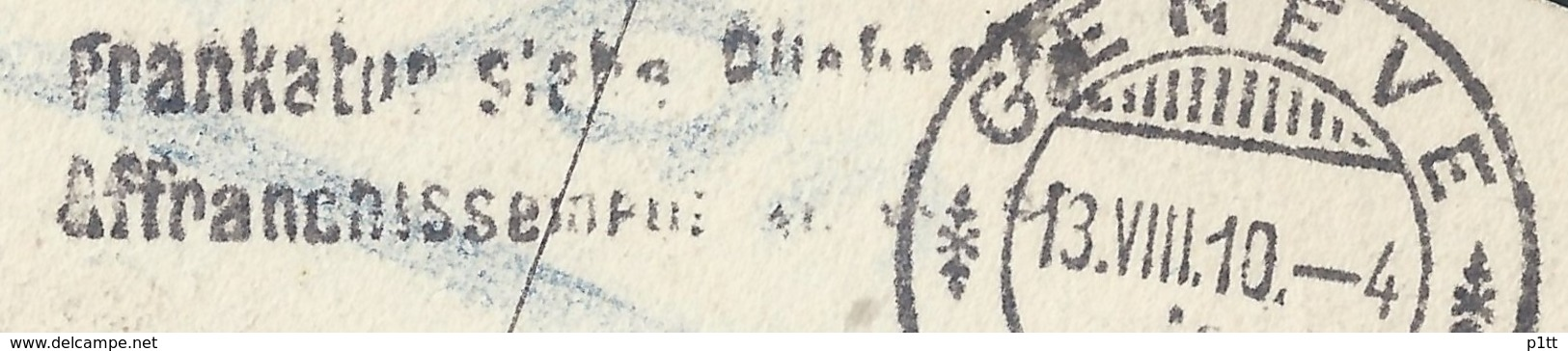 "A27 ""Geneva And Mont Blanc"" Post 1910 Geneva (Switzerland) Pavlovsk (Russia). Passage Of Mail Without Postage Stamps. Ra - Switzerland"