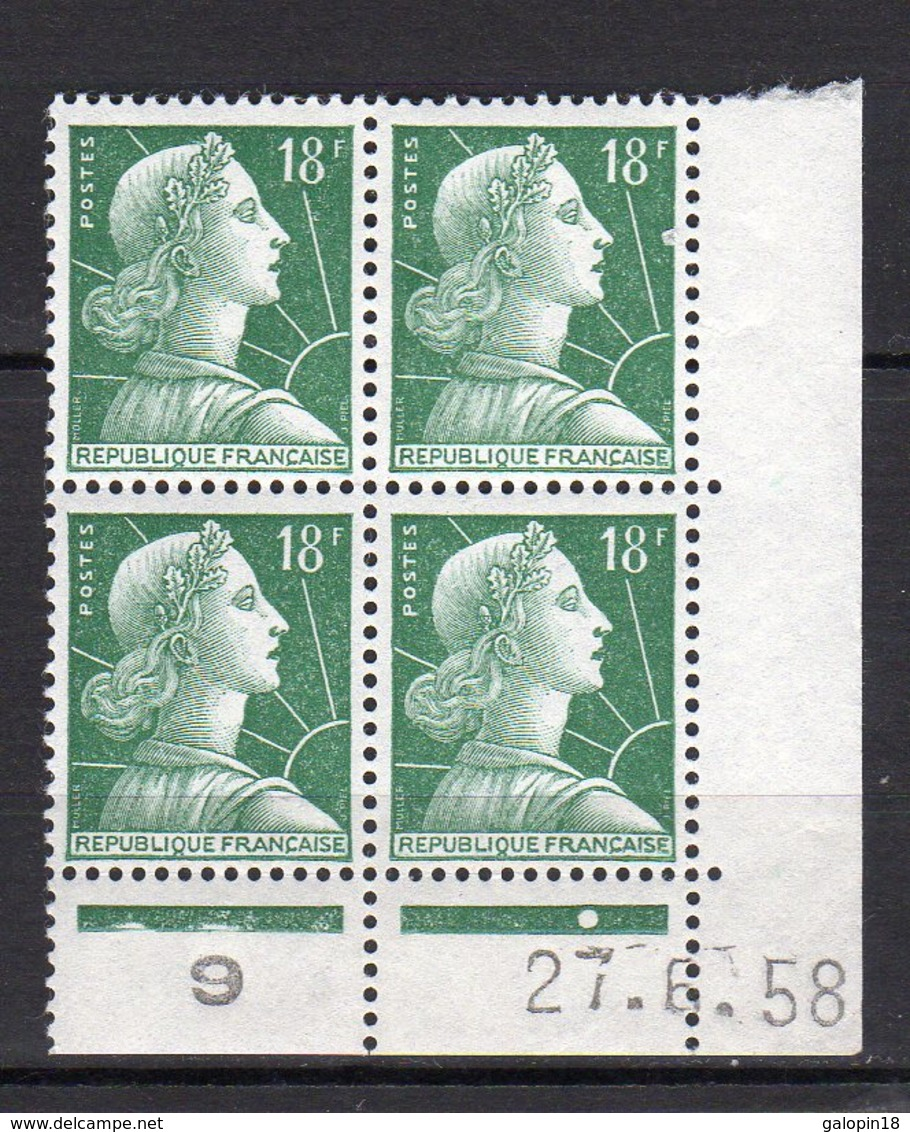 France Yvert N° 1011A Coin Daté Du 27.6.58 Marianne De Muller Lot 24-173 - Coins Datés