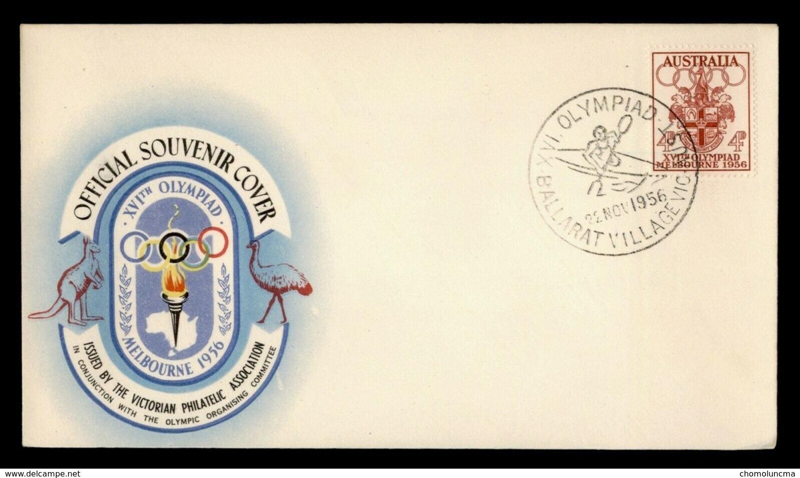 Australia Official Cover 1956 Melbourne Summer Olympics Games Canoë-kayak Canoeing Kanusport Cancelled - Sommer 1956: Melbourne