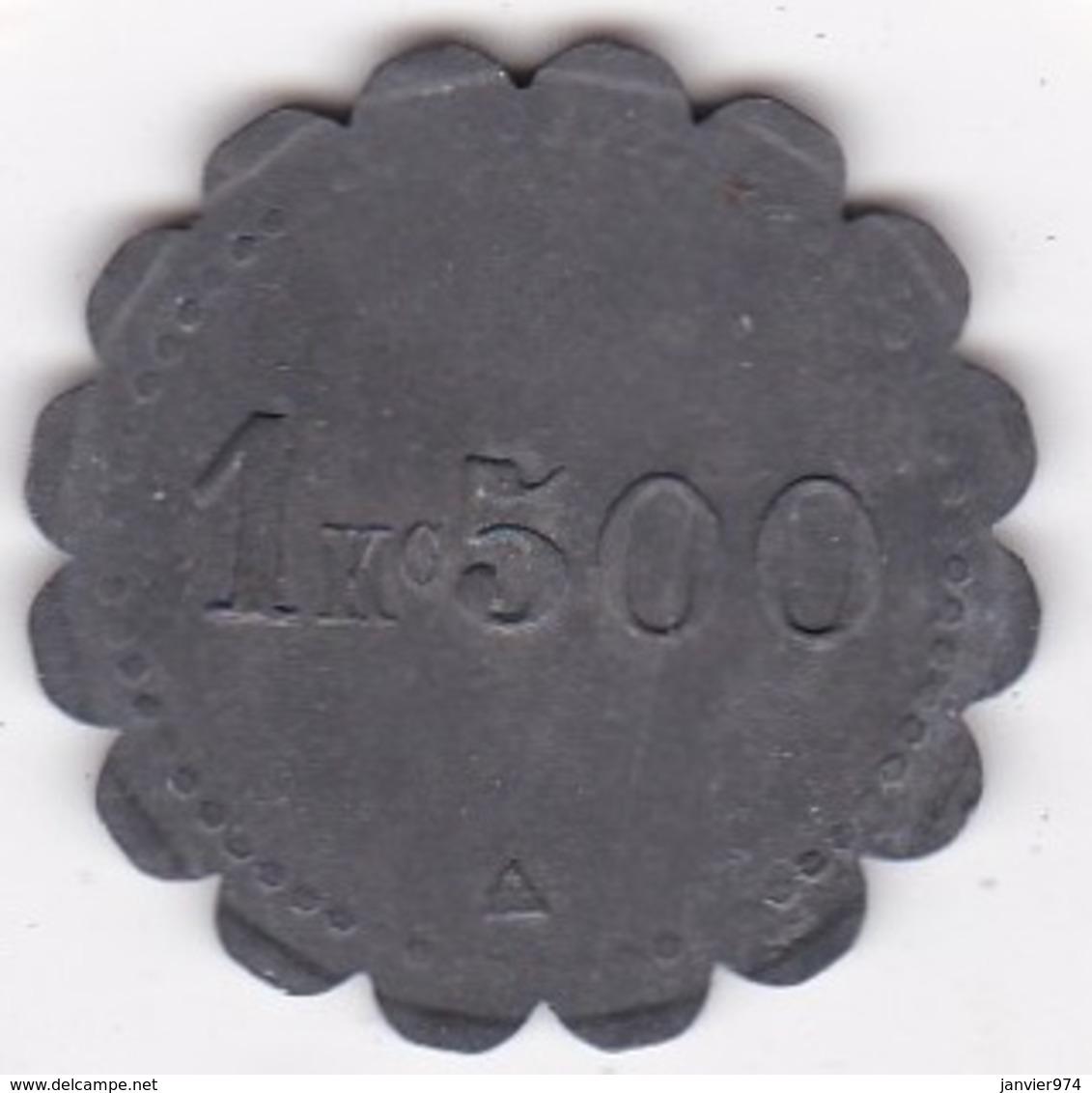 53. Mayenne. Société Coopérative RENAZE. L Union Prolétaire 1 Kg 500, En Zinc - Monétaires / De Nécessité