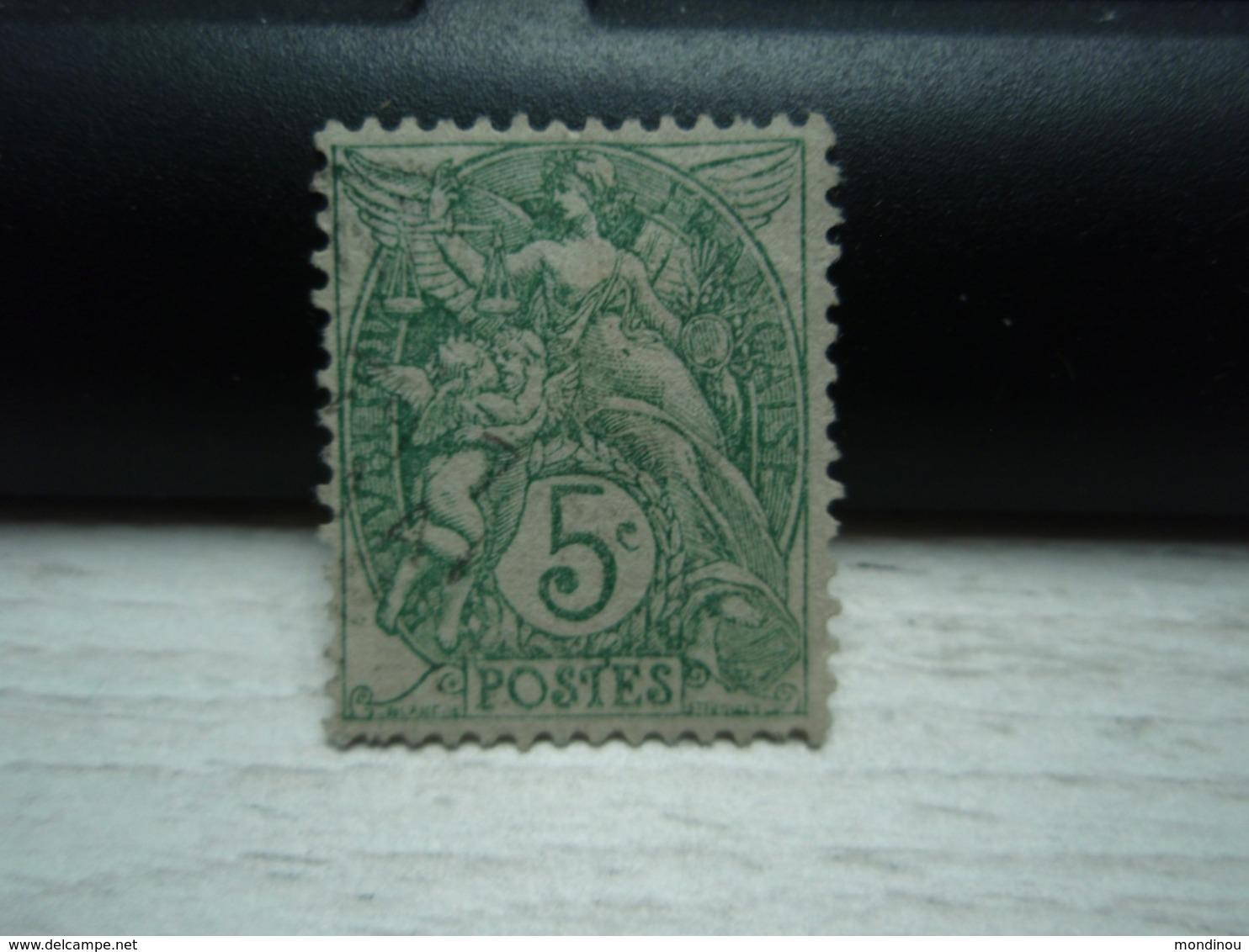 Timbre Blanc Oblitéré . 5 Centimes, Reste De Charnière. - 1900-29 Blanc