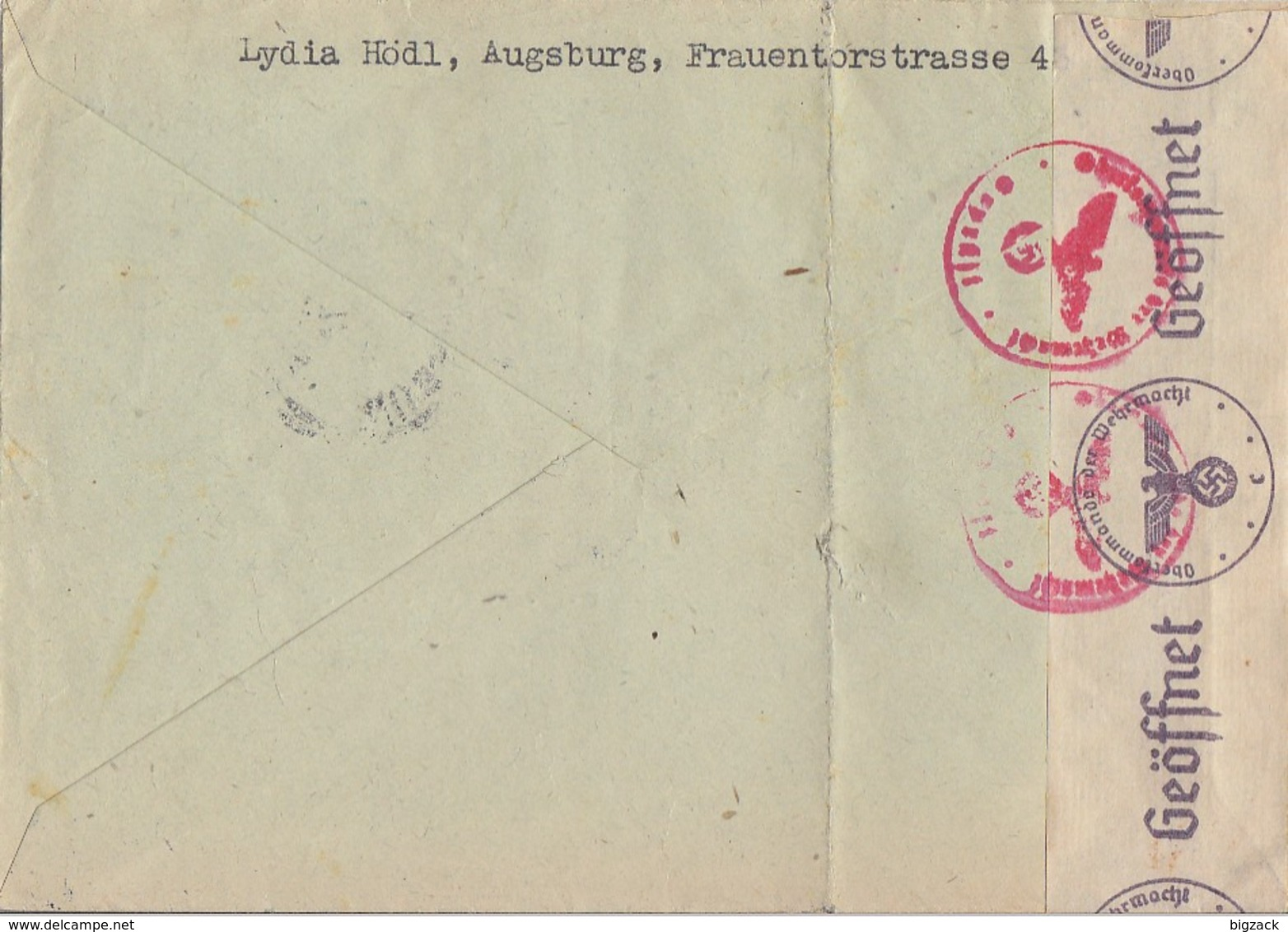 DR R-Brief Mif Minr.517,4x 763 Augsburg 18.2.41 Gel. Nach Holland Zensur - Deutschland