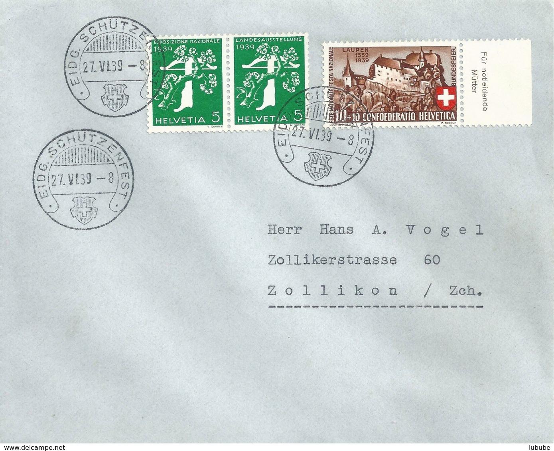 """Sonderstempel  """"Eidg.Schützenfest""""  (Z-Frankatur)          1939 - Storia Postale"""