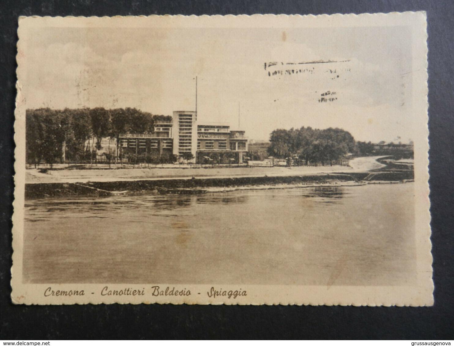 19994) CREMONA CANOTTIERI BALDESIO SPIAGGIA VIAGGIATA 1949 INSOLITA AFFRANCATURA - Cremona