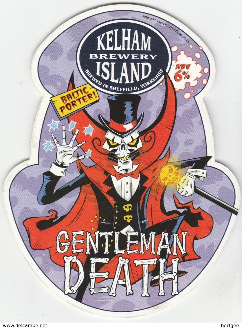 KELHAM ISLAND BREWERY (SHEFFIELD, ENGLAND) - GENTLEMAN DEATH - PUMP CLIP FRONT - Uithangborden