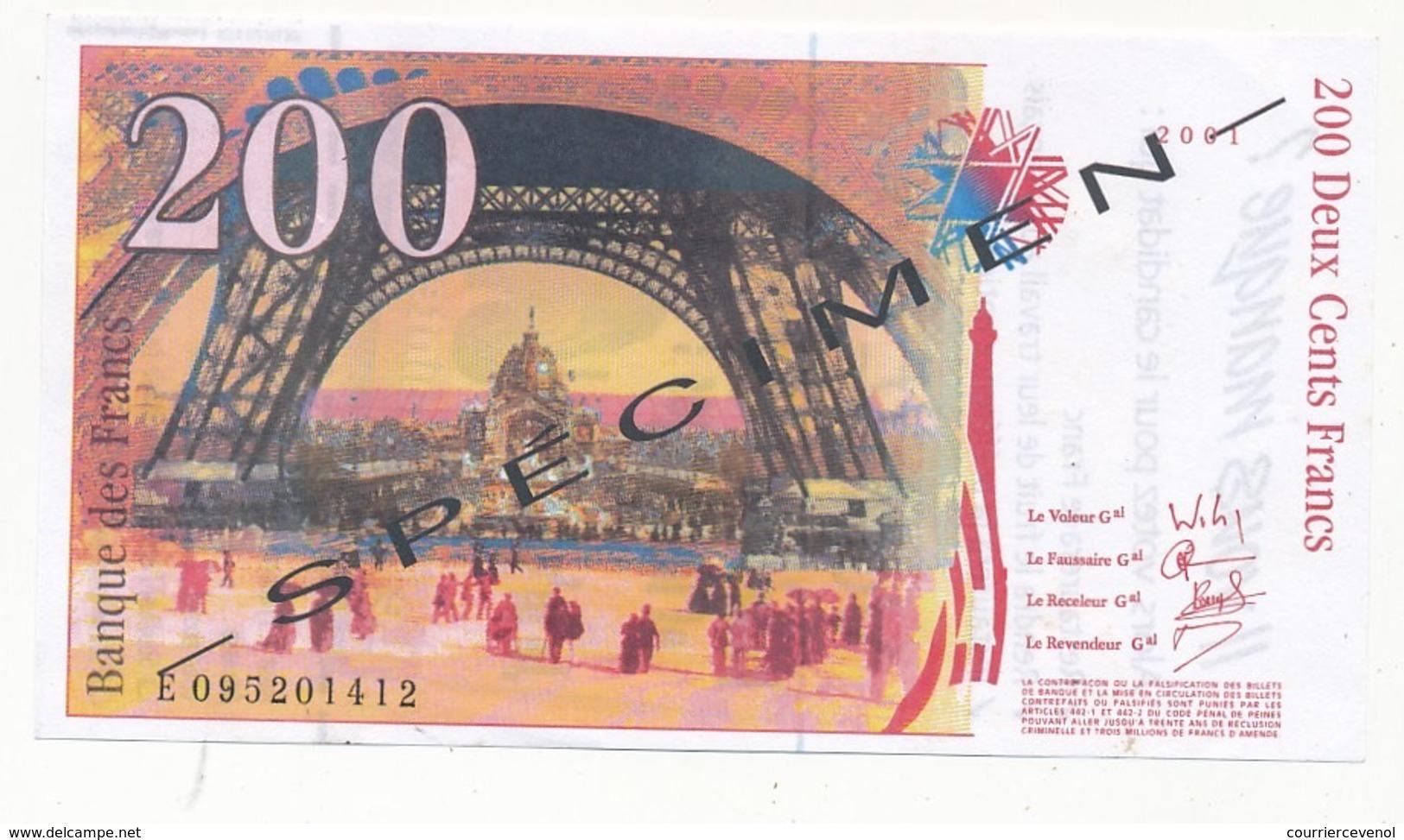 Faux Billet De 200 F Avec Publicité Au Dos - Elections... J.M. Le Pen - Documents Historiques