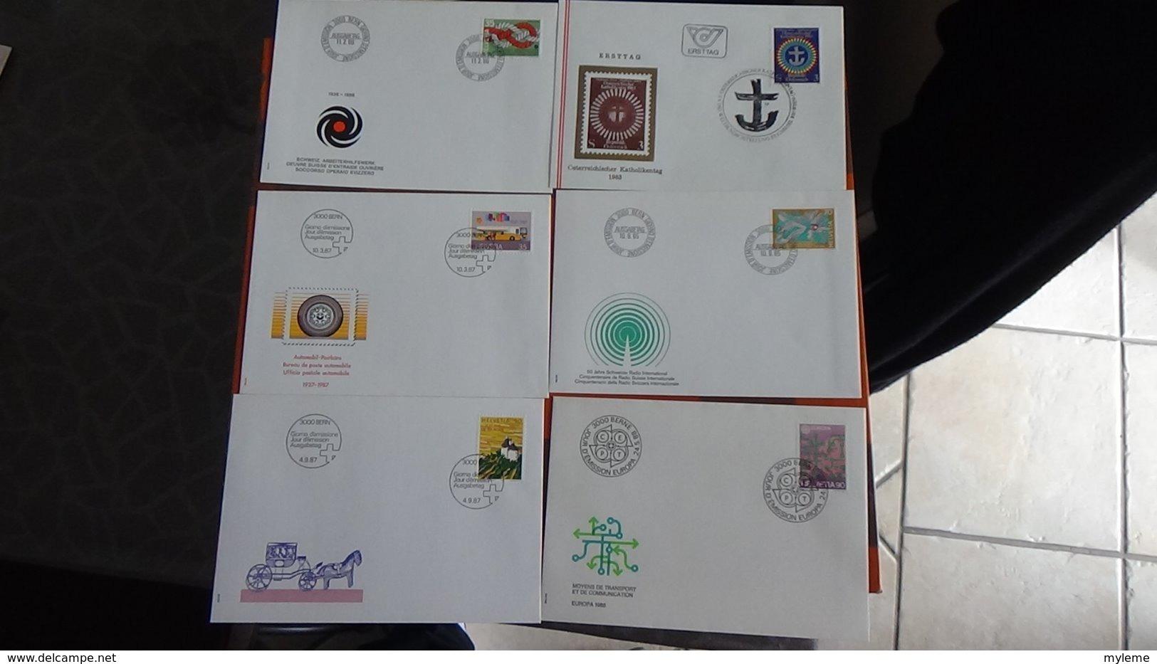 63 Enveloppes 1er Jour De SUISSE PORT OFFERT (lettre Verte)  Si Ce Lot Dépasse Les 8 Euros Soit 13cts/pièce - Francobolli