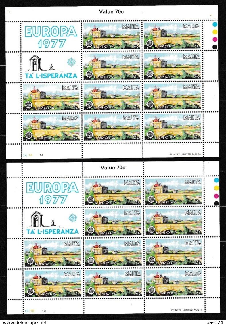 1977 Malta EUROPA CEPT EUROPE 10 Serie Di 2v. MNH** In Minifoglio 2 Minisheets - Europa-CEPT