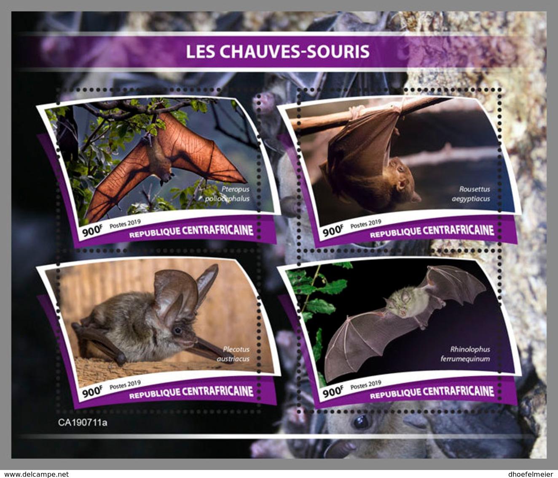 CENTRALAFRICA 2019 MNH Bats Fledermäuse Chauves-souris M/S - IMPERFORATED - DH1943 - Bats