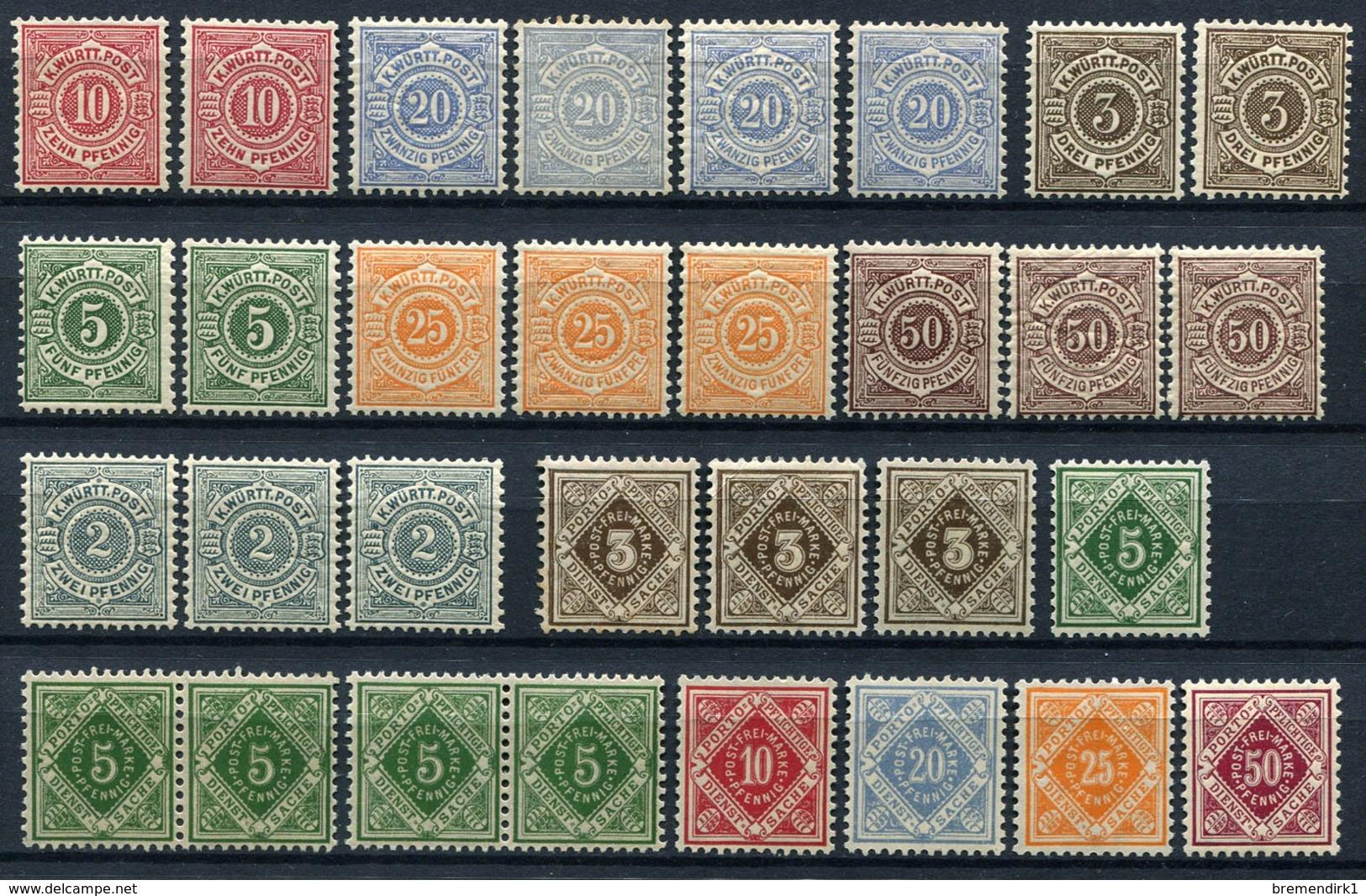 G 02) WÜRTTEMBERG - Lot Postfrisch Aus 1875-1920, 1.020.- € - Wurtemberg